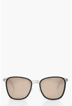 Silver Mirrored Oversized Sunglasses