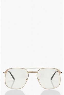 Gold Clear Framed Oversized Fashion Glasses