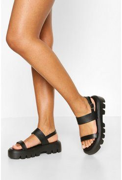 Black Chunky Cleated Double Strap Sandal