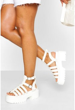 White Chunky Cleated Fisherman Sandal