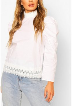 Cream High Neck Long Sleeve Top