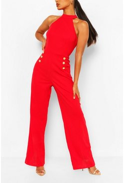 Red High Neck Jumpsuit
