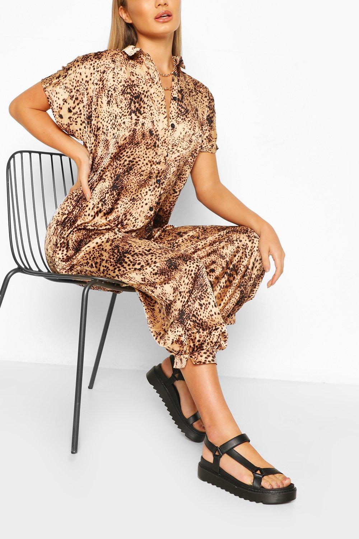 womens leopard print jumpsuit - beige - 4