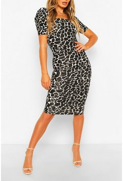Square Neck Bodycon Midi Dress, Black