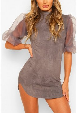 Dark grey Organza Bodycon Mini Dress