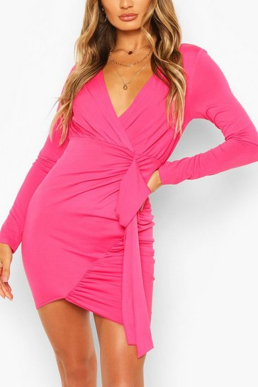 Cerise Long Sleeve Wrap Mini Dress