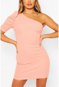 Peach One Shoulder Puff Sleeve Mini Dress