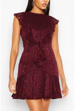 Plum Lace Frill Skater Dress