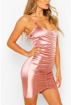 Pink Satin Strappy Ruched Mini Dress