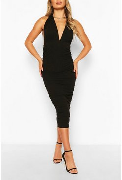 Black Plunge Neck Bodycon Midi Dress