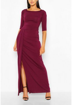 Plum Off The Shoulder Split Maxi Dress