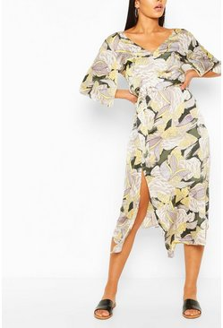 Multi Floral Tie Waist Maxi Dress