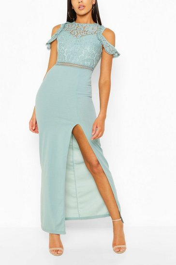 Duck egg Cut Out Sleeve Lace Maxi Dress