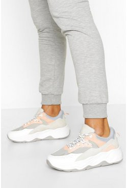Grey Chunky Lace Up Trainers