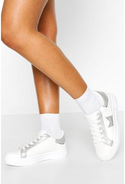 Silver Lace Up Platform Sneakers