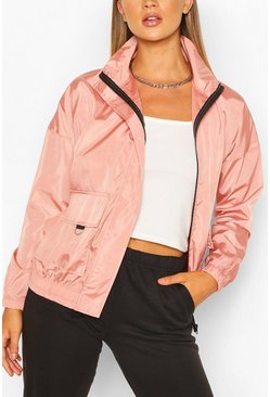 Pocket Detail Funnel Neck Windbreaker, Rose