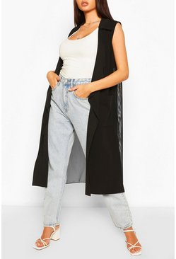 Mesh Back Sleeveless Jacket, Black