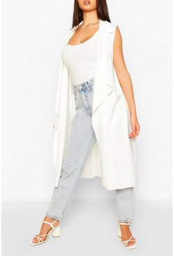 Ivory Mesh Back Sleeveless Jacket