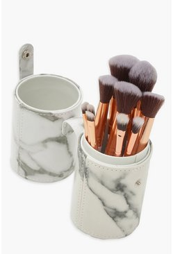 Grey Marble Brush Set With Round Case