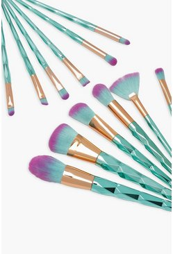 Blue 12 Piece Mermaid Brush Set