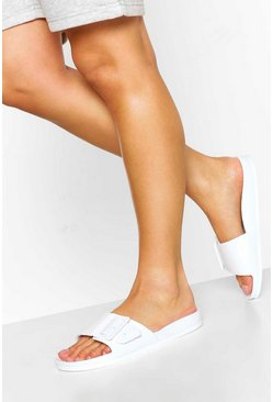 White Buckle Trim Footbed Slider