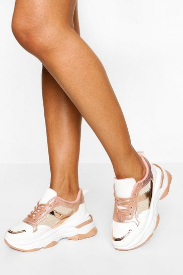Pink Chunky Sole Lace Up Trainer