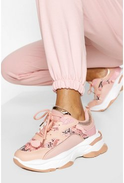 Pink Snake Panel Chunky Sneakers