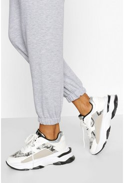 White Snake Panel Chunky Sneakers