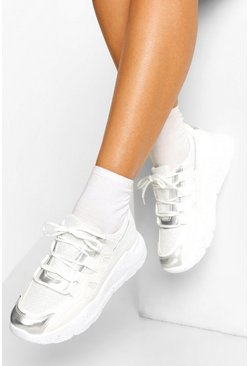 White Chunky Multi Panel Sneakers