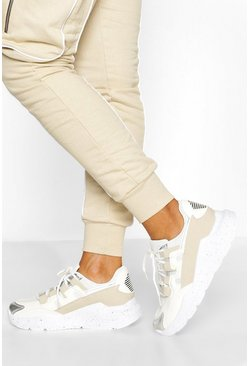 Beige Chunky Multi Panel Sneakers