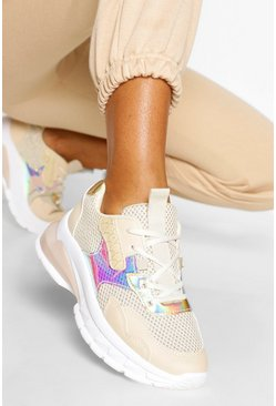 Nude Chunky Metallic Panel Sneakers