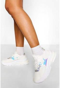White Chunky Metallic Panel Sneakers