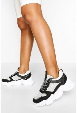 Black Chunky Lace Up Mesh Panel Trainer
