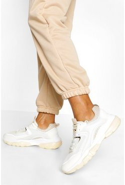 Beige Chunky Lace Up Sneaker