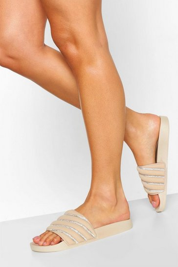 Nude Quilted Diamante Pool Sliders