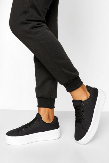 Black Basic Canvas Platform Trainer