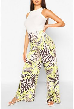 White Mixed Print Wide Leg Trouser