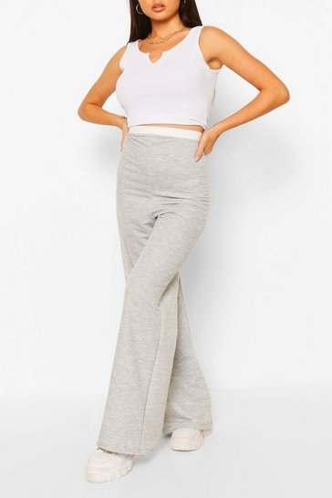 Grey Wide Leg Loopback Jogger