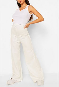 White Wide Leg Loopback Jogger