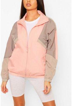 Oversized Funnel Neck Windbreaker, Pink