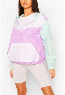 Pastel Contrast Panel Windbreaker, Lilac