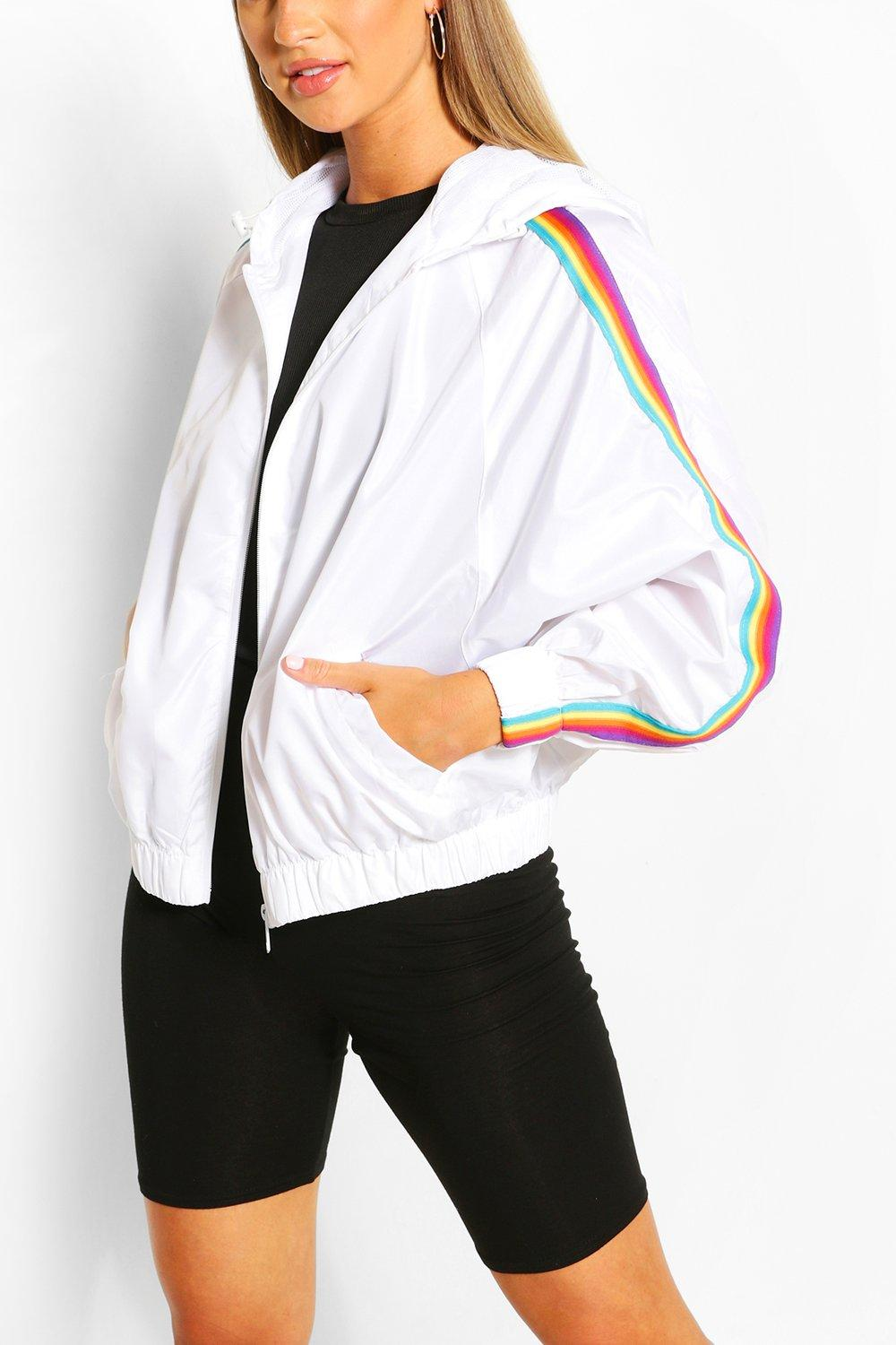 1980s Clothing, Fashion | 80s Style Clothes Womens Hooded Rainbow Stripe Windbreaker - White - 10 $16.00 AT vintagedancer.com