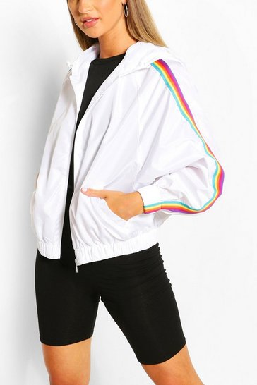 White Hooded Rainbow Stripe Windbreaker