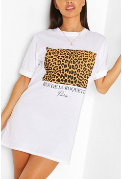 White Leopard Print Slogan T-shirt Dress