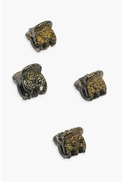 Gold Glitter Four Pack Mini Claw Clips
