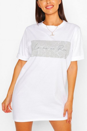 White Snake Print Slogan T-shirt Dress