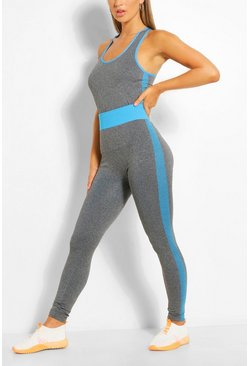 Blue Racer Back Vest & Legging Set