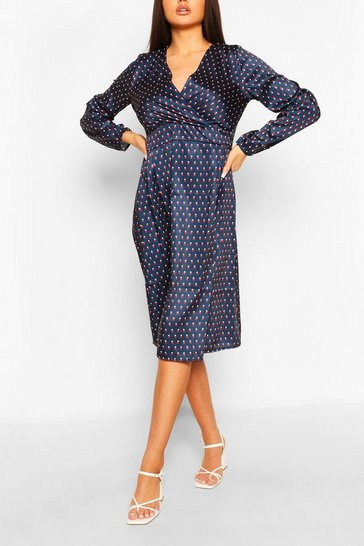 Multi Abstract Spot Button Front Midi Dress
