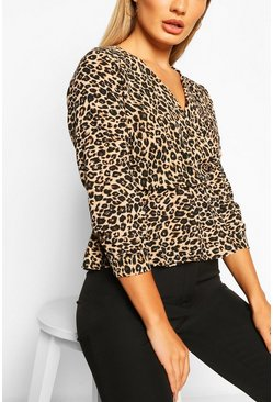 Brown Leopard Print Wrap Peplum Blouse