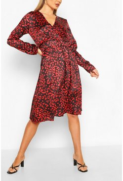 Red Leopard Button Front Midi Dress